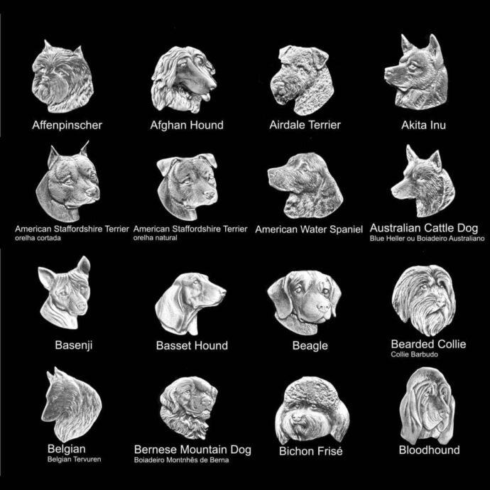 Medalhas de animais para placas de homenagem de cachorros de várias raças 1