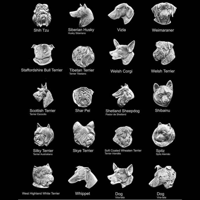 Medalhas de animais para placas de homenagem de cachorros de várias raças 8