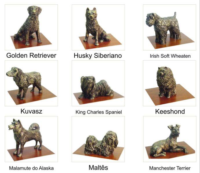 Miniaturas de animais: cachorros de várias raças