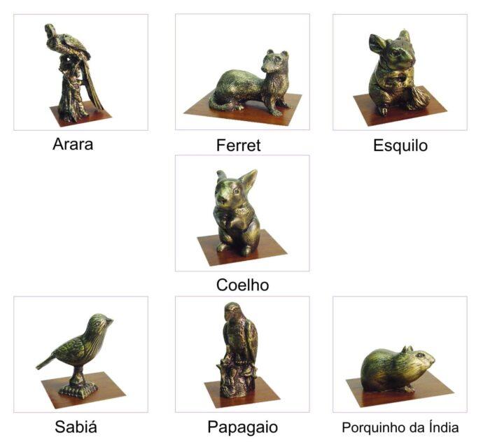 Miniaturas de animais: Arara, Coelho, Esquilo, Ferret (furão), Sabiá, Papagaio, Porquinho da Índia