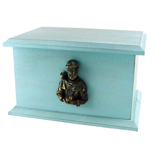 Urna para cinzas Box Econômica com aplique São Francisco (azul)