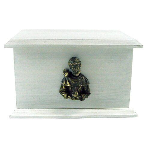 Urna para cinzas Box Econômica com aplique de São Francisco de metal