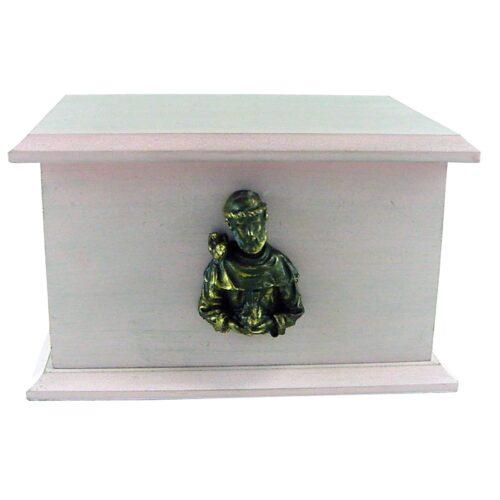 Urna para cinzas Box Econômica com aplique São Francisco (rosa)