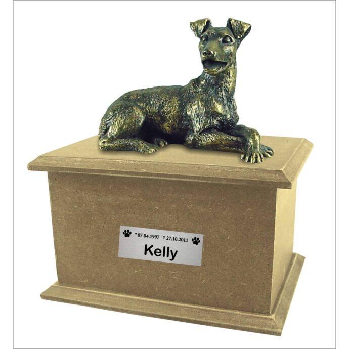 Urna para cinzas Box Econômica com miniatura e placa (natural)
