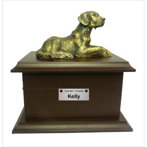 A Urna para cinzas animais Petbox Oriental tem miniatura de raça e placa customizável para homenagear seu pet.
