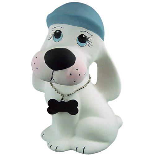 Urna para cinzas Cãozinho de Cerâmica (branco/azul) para guardar cinzas de animais de estimação