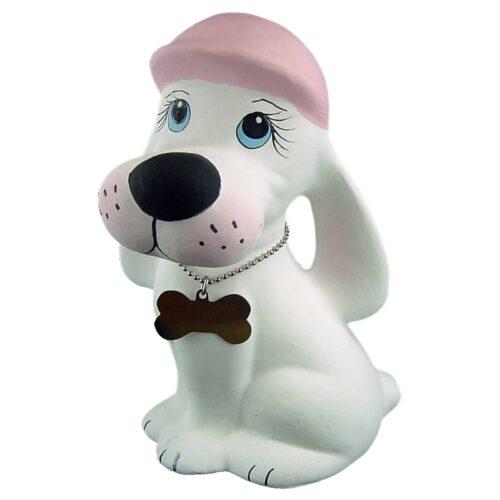 Urna para cinzas Cãozinho de Cerâmica (branco/rosa)