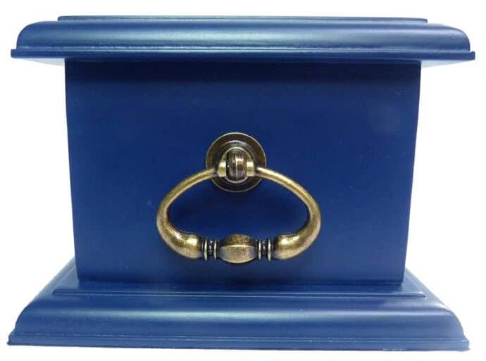 Urna para cinzas: Petbox laqueada (Azul Bleu de Chine) com Miniatura