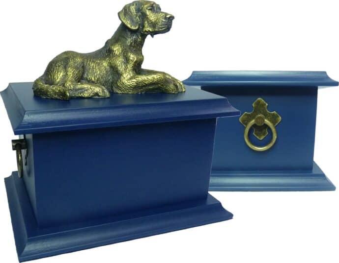 Urna para cinzas: Petbox oriental laqueada (Azul Bleu de Chine) com Miniatura