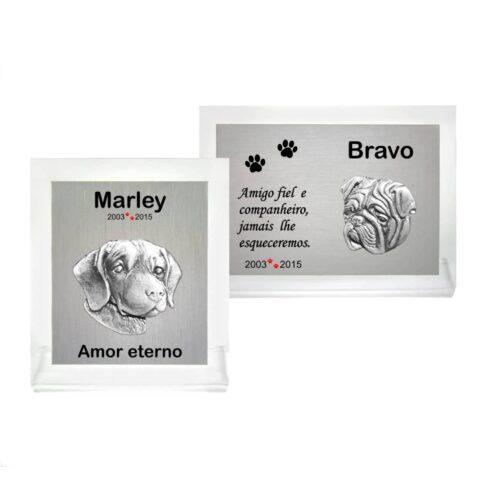 Placas de homenagem para animais de estimação (pets)