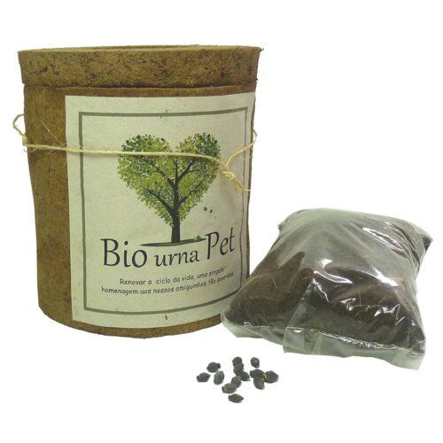 Biourna EcoPets:urna ecológica para cinzas de animais. Acompanha substrato e sementes de Mirabilis