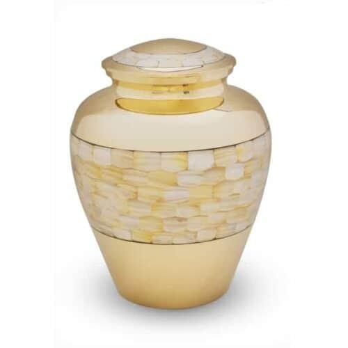 Urna para Cinzas Madrepérola, dourada, com pastilhas de madrepérola